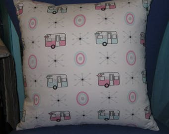 """Camping Pillow 17"""" X 17"""" Vintage Shasta Trailers in PASTEL"""