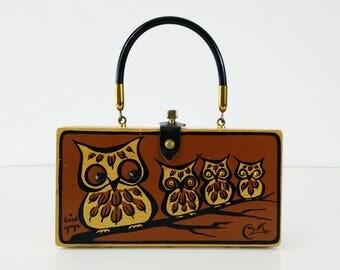 Wise Guys Collins of Texas Owl Box Bag Purse / Enid Collins Wood Cigar Box Handbag