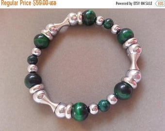 25% OFF SALE Man's Stainless Steel and Green Tiger's Eye Stack Stretch Bracelet Mens Jewelry Gift for Him