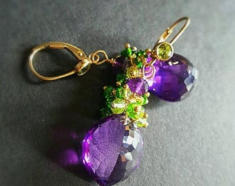25% OFF SALE Amethyst Drop Earrings with Chrome Diopside Peridot Gemstone Cluster Earrings Gift For Her