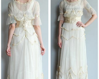 1900s Wedding Dress // Edwardian Tulle & Silk Trim Wedding Dress // vintage Edwardian Dress