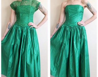 1950s 2pc Gown // Kiss me Under the Mistletoe Gown & Lace Blouse // vintage 50s blouse + Gown