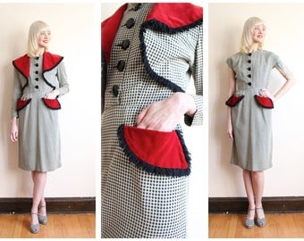 1940s Dress Set // Gabardine Houndstooth & Velvet Dress + Bolero // vintage 40s dress