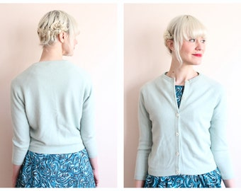 1950s Cardigan // Baskin Cashmere Sea Glass Sweater // vintage 50s cardigan
