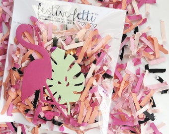 Flamingo Confetti/ Flamingo Gift Tags/ Let's Flamingle Confetti/ Palm Springs Party/ Tropical Party/ Confetti/ Flamingo Party/ Palm Leaves
