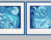 linocut, set of 2, soulmates, landscapes, blue on blue, printmaking, pair of prints, bird prints, turquoise prints, abstract