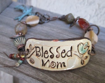 Simply Blessed Ceramic Cuff Bracelet