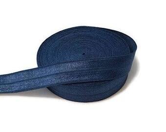 "Light Navy Fold Over Elastic - Elastic Ribbon - Elastic by the Yard - 5 Yards of Elastic Ribbon - Headband Elastic - FOE - 5/8"" Elastic"