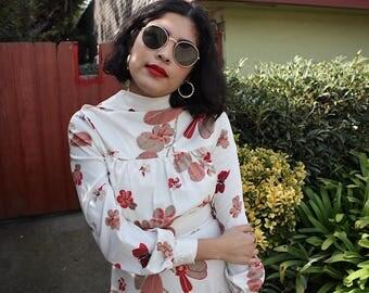 Vintage 70s floral butterfly secretary dress / xs/s