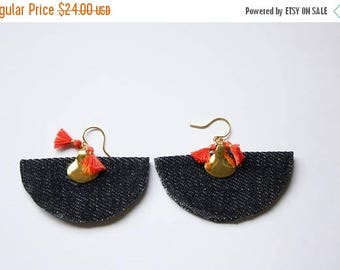 SUMMER SALE Jean Fan Tassel Earrings, Modern Edge, Statement Earrings, Handmade Jean Earrings, Ready to Ship