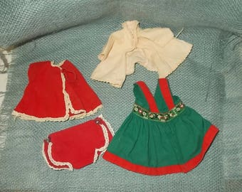 "Vintage 1950's Doll Clothes-4 Pieces-Embroidered 'Heidi"" Dress-Red Pants & Shirt-FREE SHIPPING!"