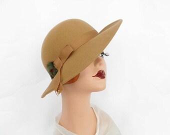 Vintage camel fedora hat, Poland tilt, feathers, upturned brim