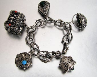 1930s Peruzzi Italy Etruscan Charm Bracelet. 800 Silver. 5 Huge Victorian Revival Cannetille Filigree Fob Charms. Italian Renaissance. 47g.