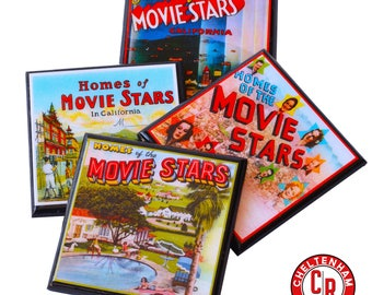 Old Hollywood Drink Coaster Set Movie Star Homes Wood Coasters Gifts for Movie Lovers Vintage Los Angeles Cinema Decor Hostess Gift Favor