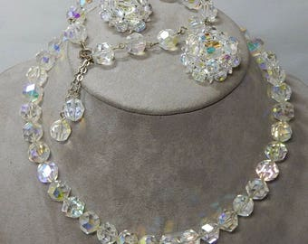 Aurora Borealis Crystal Bead Necklace, Bracelet & Clip On Earrings Set    ODE32