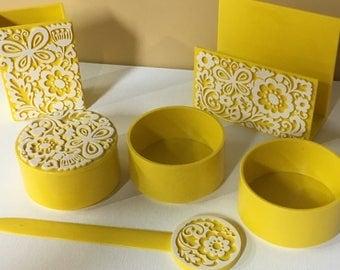 1970s Desk Set Groovy Mod Yellow White Butterfly