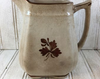 Vintage Shabby Chic Alfred Meakin Ironstone Tea Leaf Pattern Pitcher