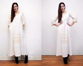 Vintage Indian Cotton Batik Hippie Angel Sleeve Kimono Kaftan Boho Maxi Dress 70's
