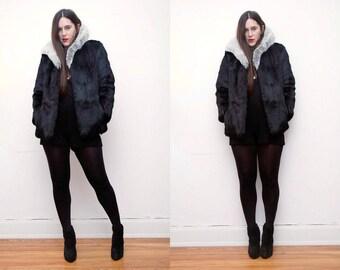 Vintage Real Fur Black Cape Coat