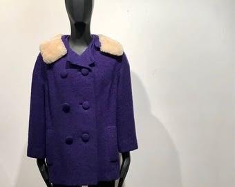 Vintage 1950s Purple Boucle Fur Trimmed Jacket