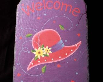 Vintage Hand Painted Red Hat Ladies Slate 12x8  Welcome Sign