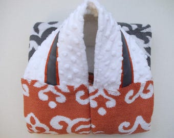 Personalized Toddler Towel with hood - Baby Towel - Newborn Towel - Orange Gray Damask Minky Towel - Monogrammed Hooded Towel - Cozy Gift