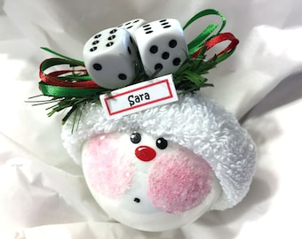 Bunco Christmas Ornaments Hand Painted White Glass Handmade Personalized Themed by Townsend Custom Gifts (F) - BR