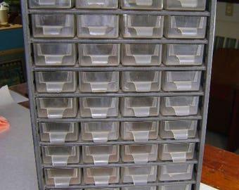 Metal Cabinet organizer 46 drawers STACKMASTER, Denmark, Vintage Craft Organizer