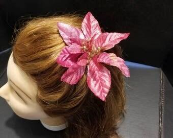 Metallic Pink Poinsettia Hairclip