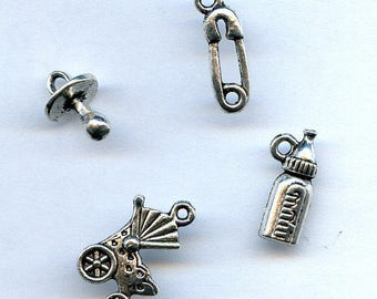 Baby Charrms Stroller, Pacifier, Diaper Pin and Baby Bottle Set of four