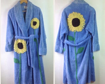Canyon Group Chenille Robe Sunflower Fields Womens Small Chenille Robe Size S Vintage Chenille Robe