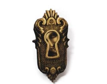 FLASH SALE Steampunk Antique Keyhole Wooden Brooch Pin