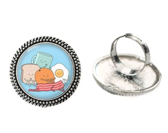 Kawaii Bored Breakfast Friends Glass 25mm Cabochon Silver Double Rope Adjustable Ring