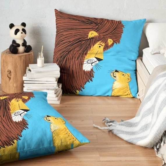 """Listen To The Lion - Throw Pillow / Cushion Cover (16"""" x 16"""") by Oliver Lake / iOTA iLLUSTRATION"""