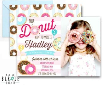 DONUT invitation donut birthday invitation donut party Donut birthday party invitation Donut printable invitation Doughnut invitation