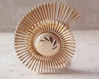 Gold Scarf Clip Spiral Swirl Engraved Look Vintage V0518