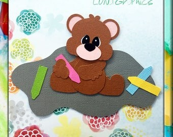 CHALKING up GOOD Times BEAR Embellishments Paper Piecing card making and scrapbooking