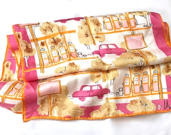 Vintage Vera Neumann Oblong Scarf // Pink and Orange Gas Station Pumps Cars Street Scene // 1970s Signature Ladybug