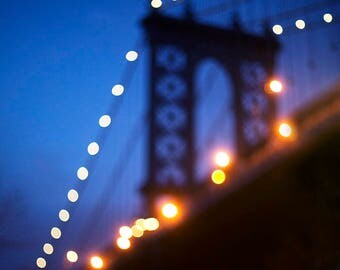 Manhattan Bridge at Night II - Fine Art Photograph, New York, Travel, NYC, Wall Art
