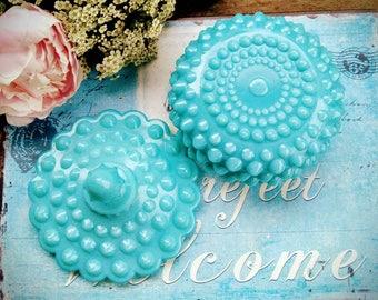 Fenton Turquoise Pastel Hobnail Lidded Candy Dish / Fenton Candy Box / Wedding Centerpiece / Home Decor / Serving Dish / Wedding Gift