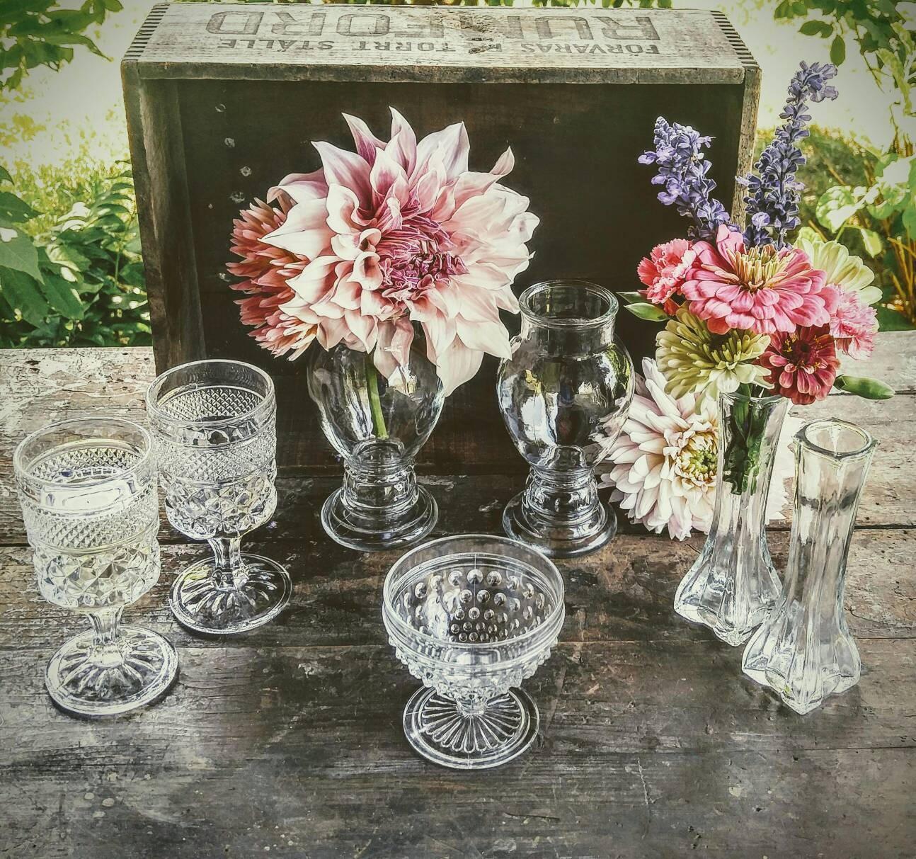 Vintage Wedding Vases Clear Glass Sparkle And Shine Celebration Seven Piece