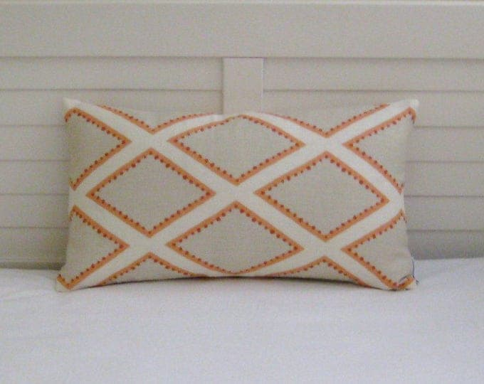 Kravet Brookhaven in Coral and Tan Geometric Linen Designer Lumbar Pillow Cover, Designer Fabric, 12x20 Pillow Cover