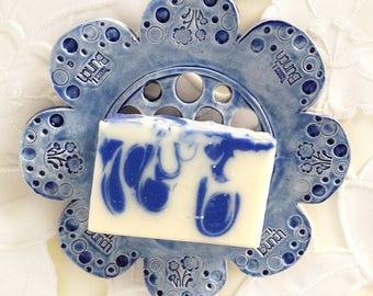 Floral Frog Ceramic -Ceramic Flower - Blue Ceramic Soap Dish - Flower Soap Dish - Ceramic Flower Plate - Floral Soap Dish  - Flower Frog
