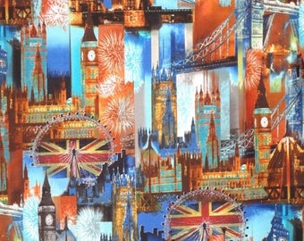 ON SALE Colorful London Landmarks Cityscape Print Pure Cotton Fabrics--One Yard