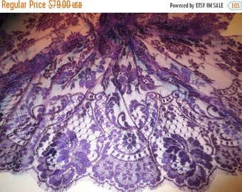 ON SALE Fabulous  Purple and Metallic Gold Floral Design French Chantilly Lace Fabric--One Yard