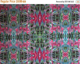 ON SALE Amazing Pink and Green Liquid Lace Print Pure Cotton Fabric--By the Yard
