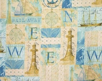 ON SALE Aqua and Sand Beige Nautical Collage Tall Ships Print Pure Cotton Fabric-By the Yard