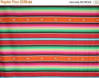 ON SALE Colorful and Vibrant Fiesta Serape Stripe II with Orange Print Pure Cotton Fabric--By the Yard