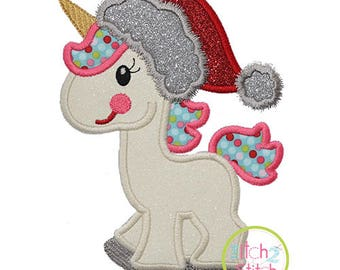 Unicorn in Santa Hat Applique design for machine embroidery, shown with our Say Something font NOT Included, INSTANT DOWNLOAD