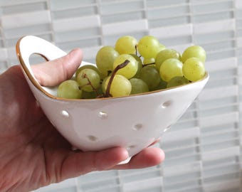GOLD RIM Pottery Berry Bowl with Handle - Small - Ceramic Colander
